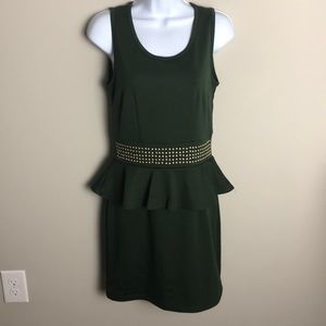 Vero Moda Forest Green Peplum Dress Size M